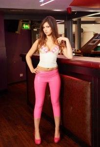 Alyssa aka Louisa Marie posing  in Pink White tight leather leggings (1)