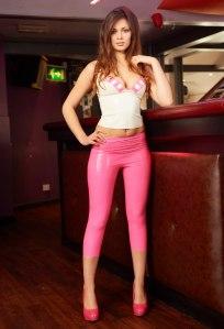 Alyssa aka Louisa Marie posing  in Pink White tight leather leggings (11)