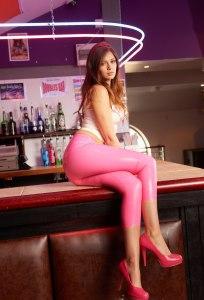 Alyssa aka Louisa Marie posing  in Pink White tight leather leggings (14)