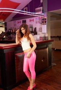 Alyssa aka Louisa Marie posing  in Pink White tight leather leggings (15)