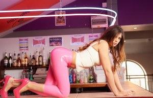 Alyssa aka Louisa Marie posing  in Pink White tight leather leggings (16)