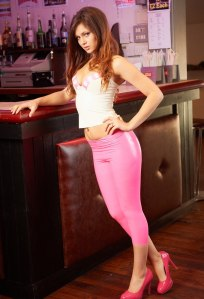 Alyssa aka Louisa Marie posing  in Pink White tight leather leggings (6)