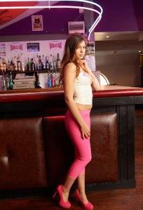 Alyssa aka Louisa Marie posing  in Pink White tight leather leggings (7)