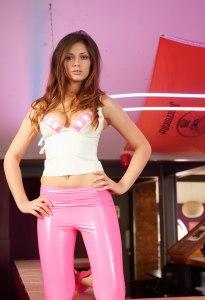 Alyssa aka Louisa Marie posing  in Pink White tight leather leggings (9)