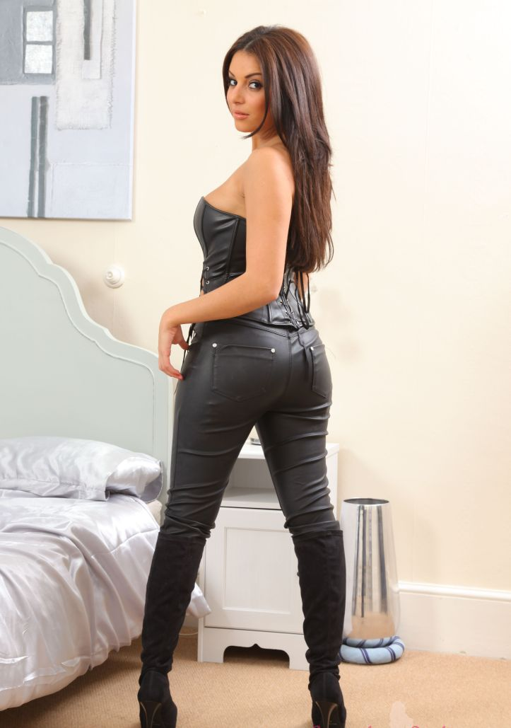 Charley S is looking sexy in tight leather pant for Layered-Nylons (1)