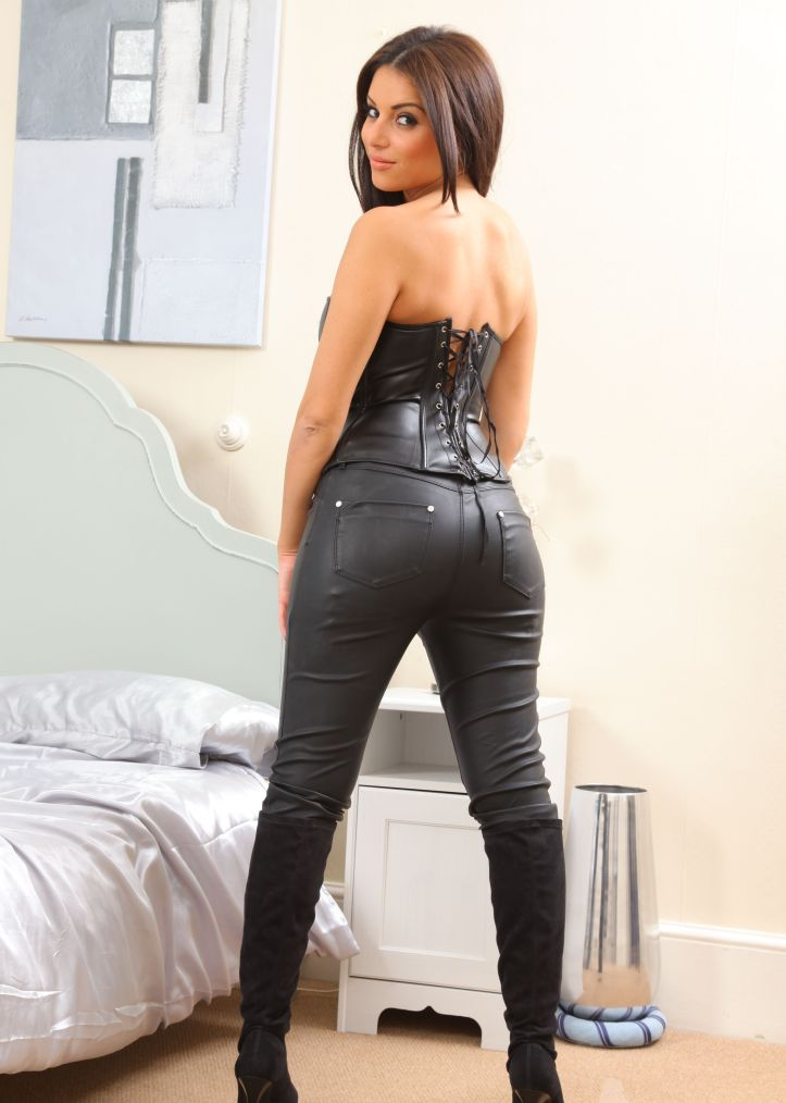Charley S is looking sexy in tight leather pant for Layered-Nylons (2)