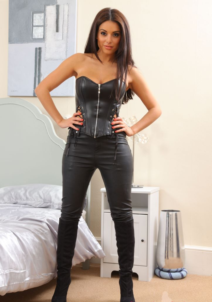 Charley S is looking sexy in tight leather pant for Layered-Nylons (4)
