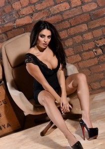 Charlotte Springer in a tight sexy black dress photo-shoot (9)