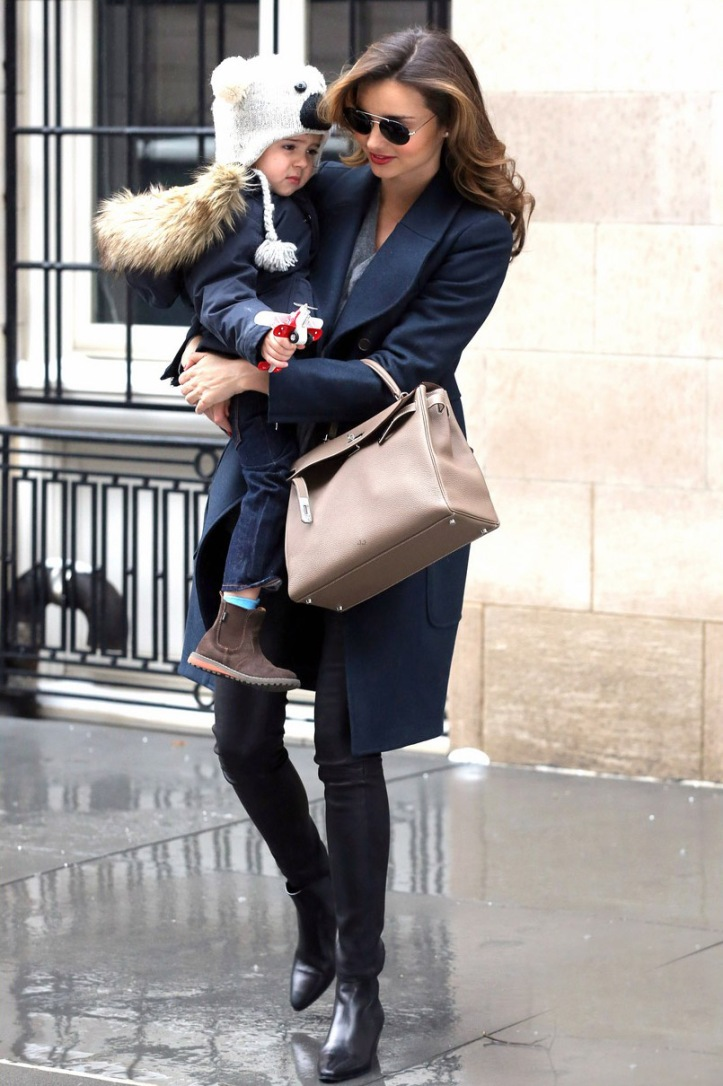 Miranda Kerr steps out with her son on January 2014 in New York City