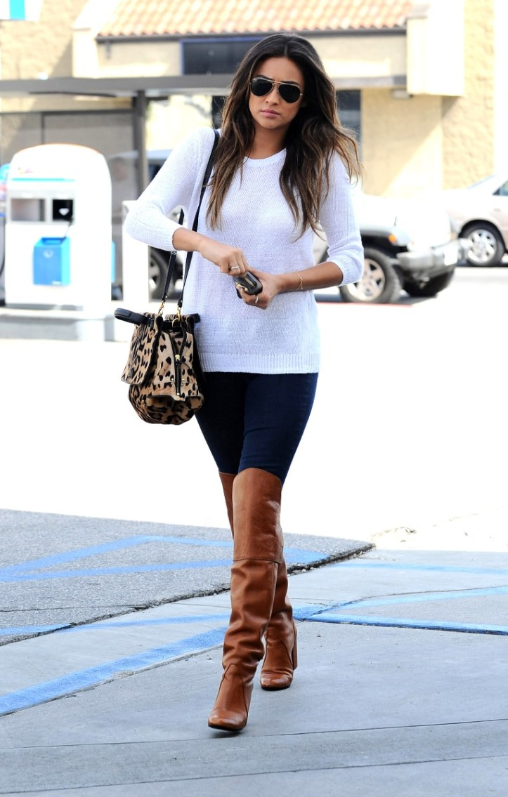 Shay Mitchell Pumping gas in Los Angeles on April 2 2014