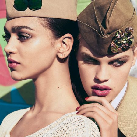 Zhenya Katava & Kim Riekenberg by Dusan Reljin for Elle Italia March 2015