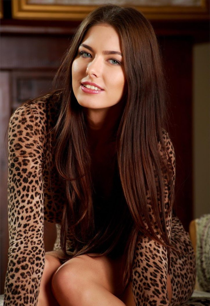 Beautiful Model Arianna with blue eyes wearing minidress at MPL Studios