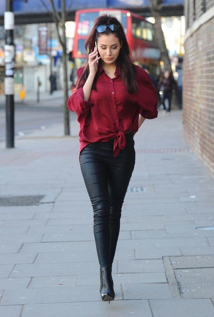 Chloe Goodman wears Leather Pants – Out in London – January 2015 (2)