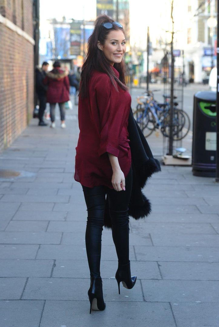 Chloe Goodman wears Leather Pants – Out in London – January 2015
