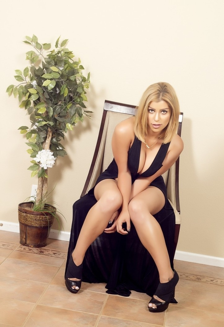 Briana Lee in a long black dress photo-shoot (2)