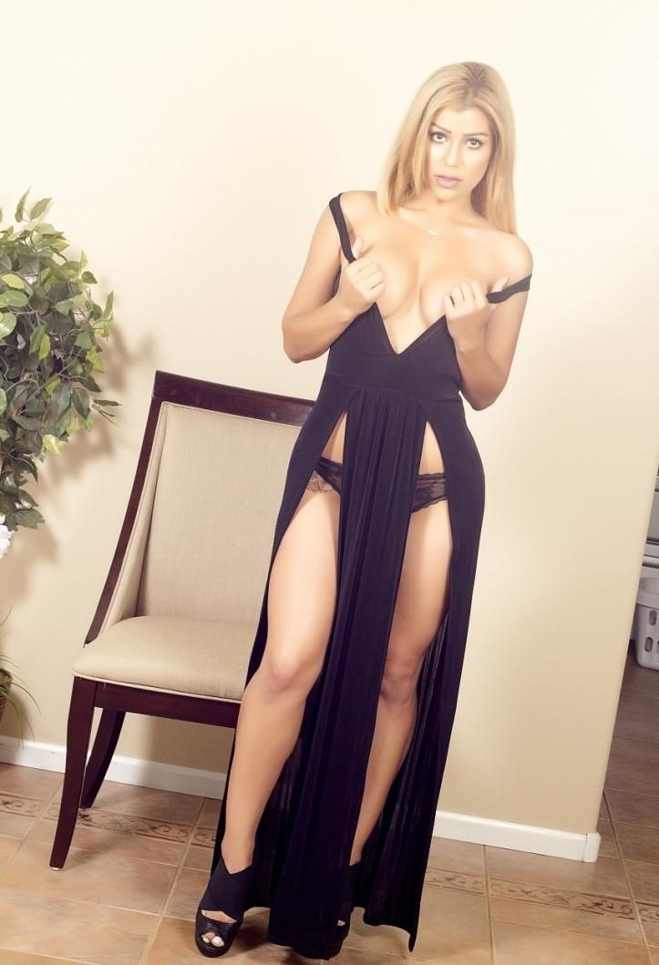 Briana Lee in a long black dress photo-shoot (4)